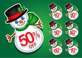 Fotografie Christmas Snowman Rabatt Sticker / Dichtungen
