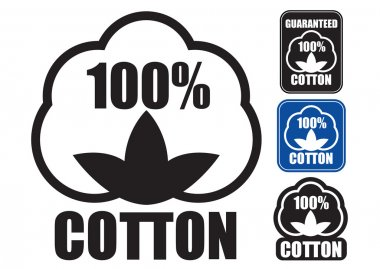 100 Cotton Icon. in three styles.