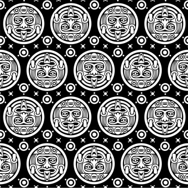 Aztec Seamless Background in Black & White