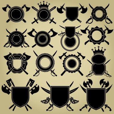 Retro Styled Seals with crossed Swords and Axes