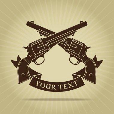 Vintage Crossed Pistols Silhouette