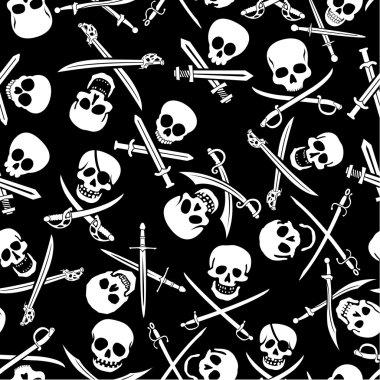 Pirate Symbols Seamless Pattern in Black & White