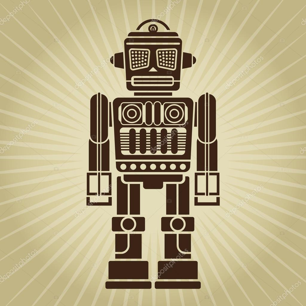 Classic Retro Illustration: Retro Vintage Robot Illustration