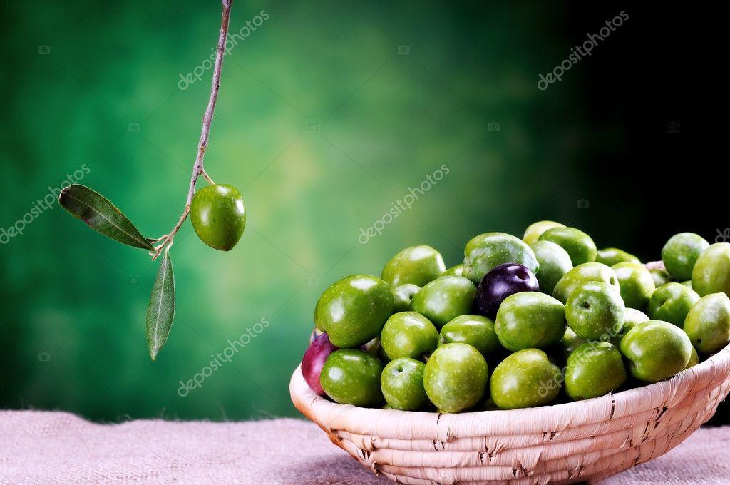 basket of sicilian green olives