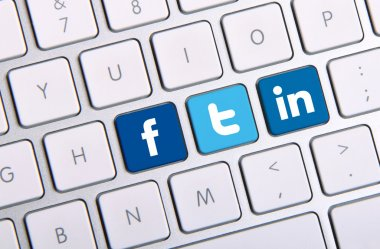 Facebook Twitter and Linkedin keyboard