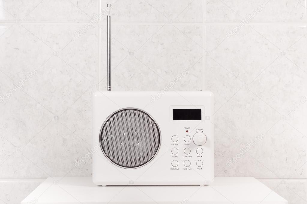 white modern bathroom radio stock photo - Bathroom Radio