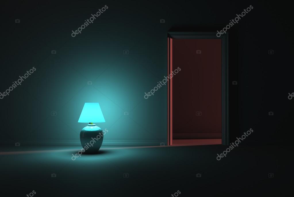 Turchese lampada illuminazione di una stanza buia u foto stock