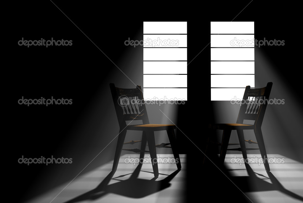 dos sillas vacías en un cuarto oscuro — Foto de stock © rossstudio ...
