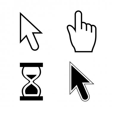Vector illustration of cursor set, mouse arrow and hand pointers