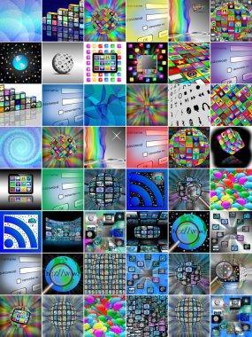 A set of nine images