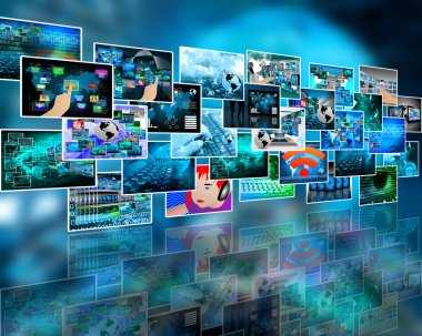 Abstract internet prospect of a plurality of images on the theme of computers and high technology stock vector