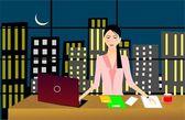 Photo Business woman working late night