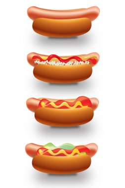 3 tipes of hot dogs clip art vector