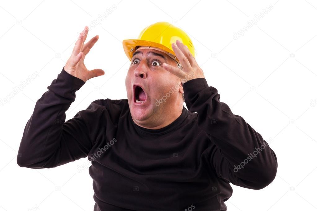 Construction worker screaming in terror