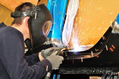 Car body welding.