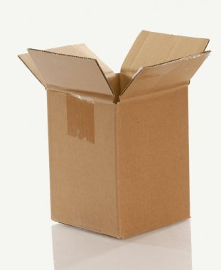 cardboard shipping box isolated on white background