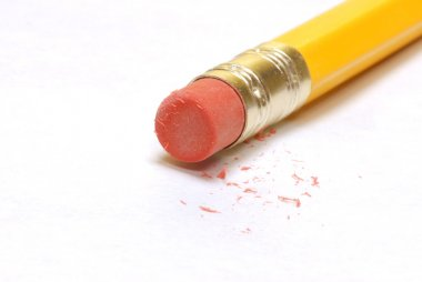 pencil with used eraser end and eraser dust