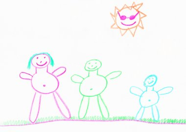 stick crayon drawing of a family