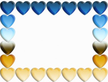 Blue and gold gradient heart border stock vector