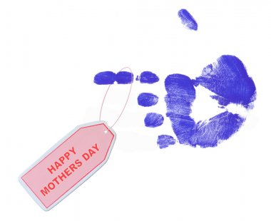 happy mothers day tag from blue painted hand print
