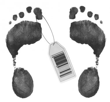 toe tag with barcode on foot prints