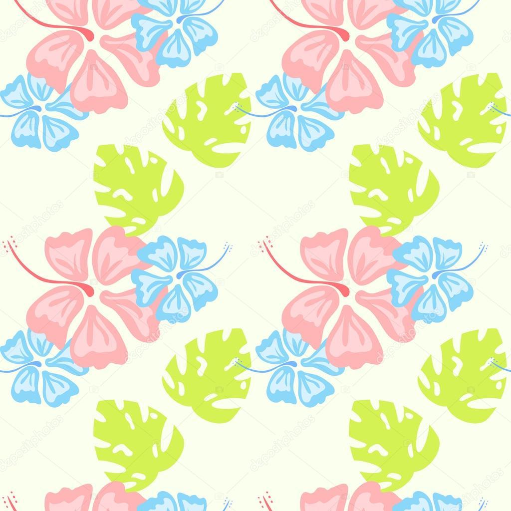hibiscus pattern pastel