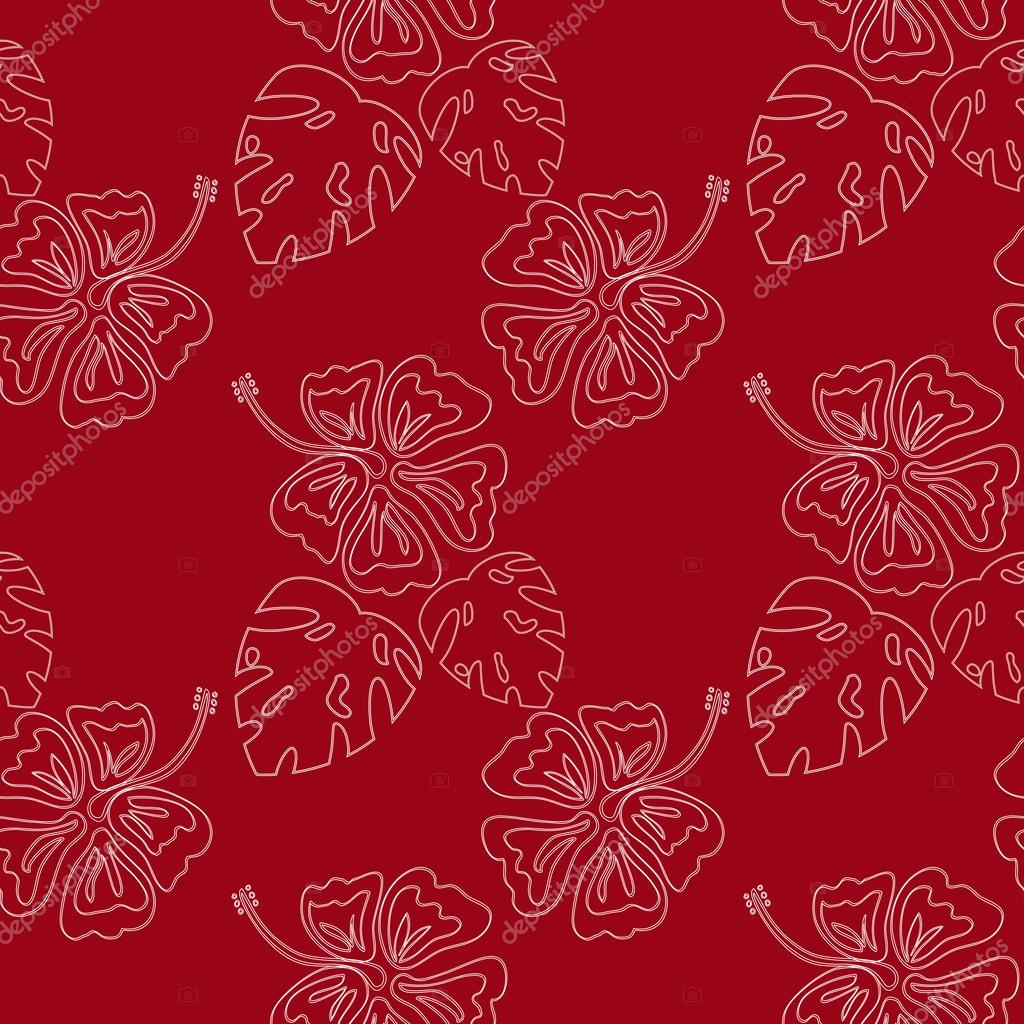 hibiscus contour pattern red