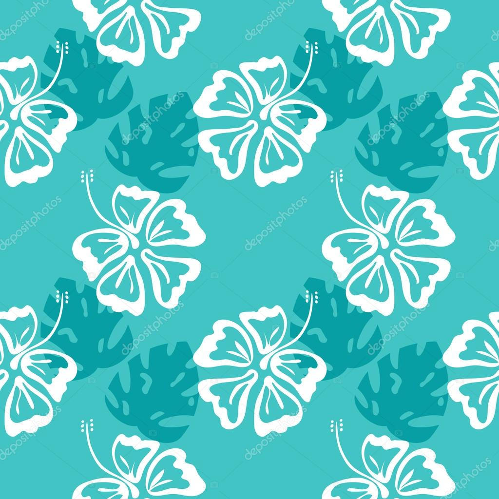hibiscus silhouette pattern blue