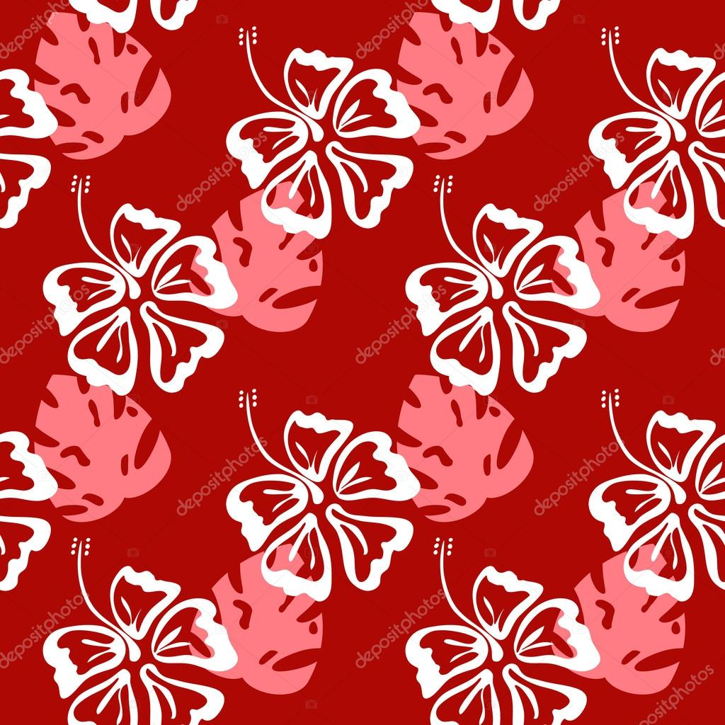 hibiscus silhouette pattern red