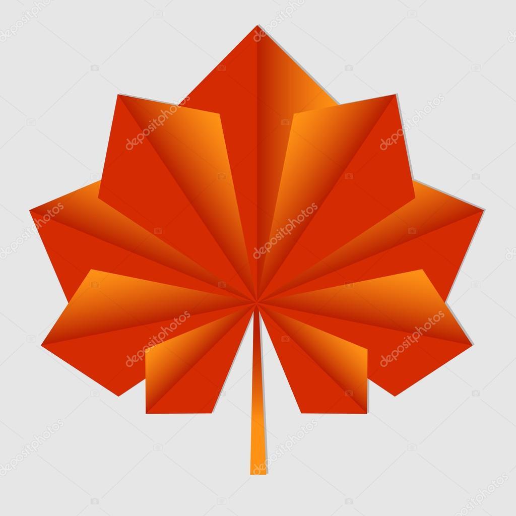 Feuille Dérable Origami Orange Image Vectorielle Lenalivaya