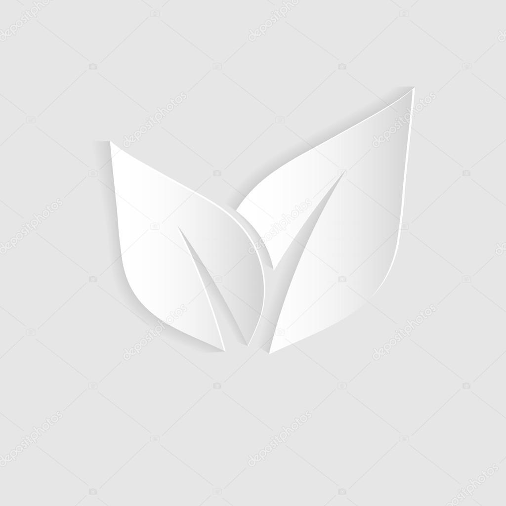 leaf paper symbol white