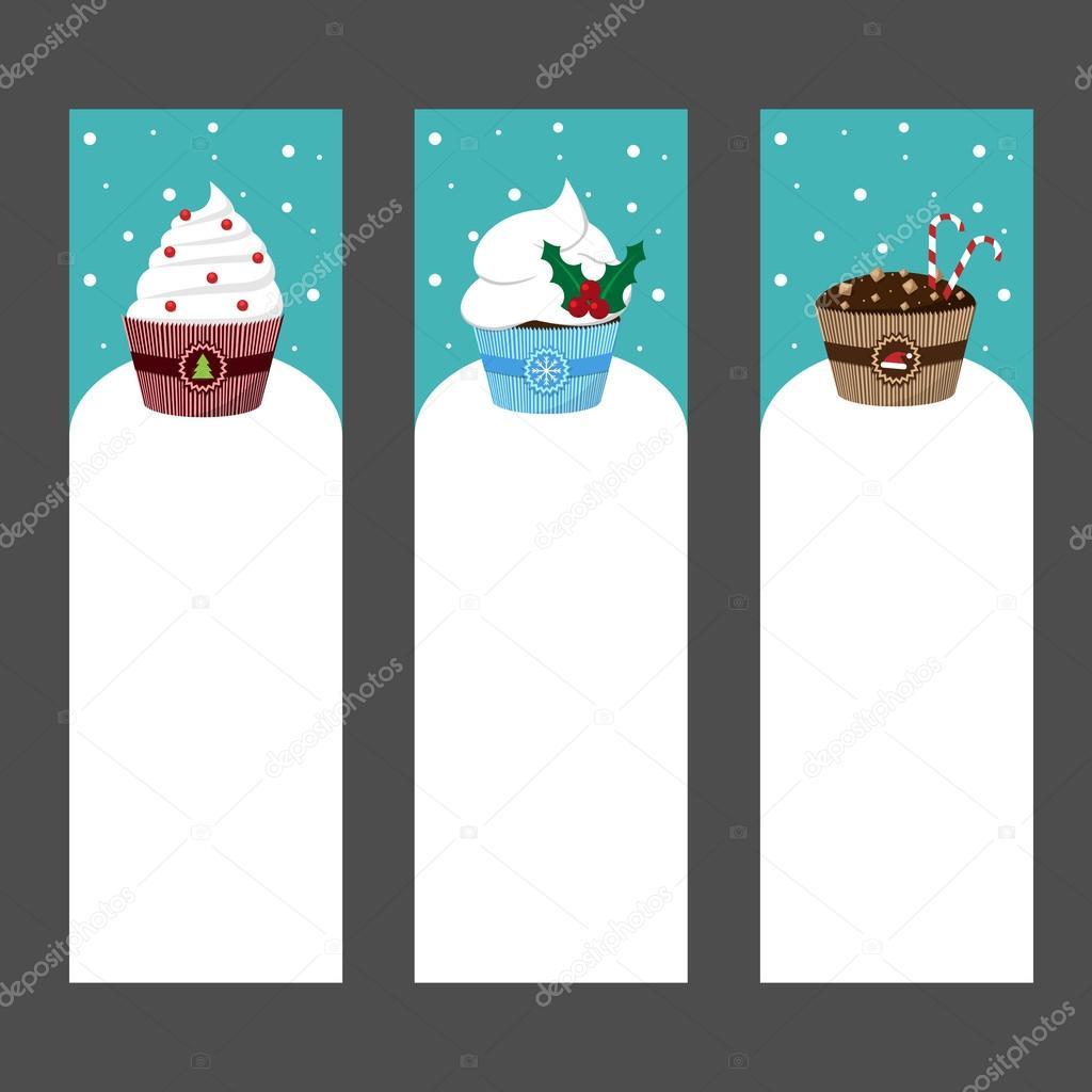Christmas Cupcake Invitation Template Stock Vector Lenalivaya
