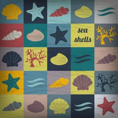 Vintage seashells flat wallpaper