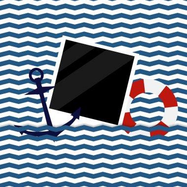 nautical background with photoframe