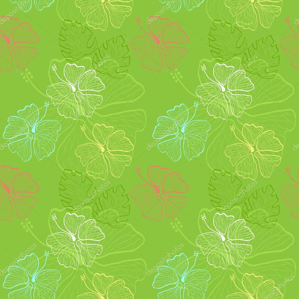 lace hibiscus pattern green