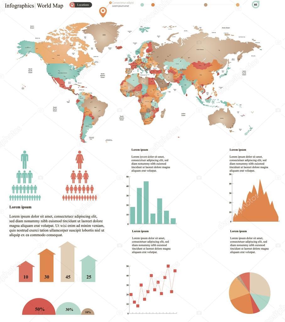 World map infographics stock vector mariam2707 44131327 world map infographics stock vector gumiabroncs Images