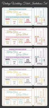 Vintage wedding ticket invitations set