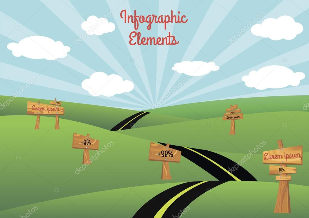 Road Infographic Elements