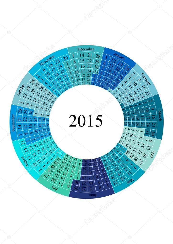 plantilla círculo calendario año 2015 — Archivo Imágenes Vectoriales ...