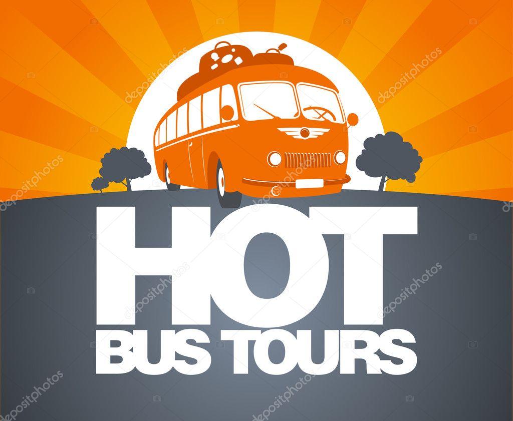 Hot bus tour design template.