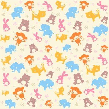 Child seamless pattern with animals.