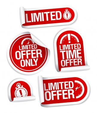 Limited offer sale stickers.