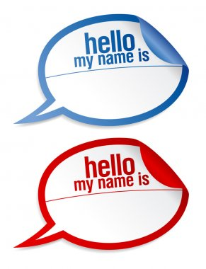Name tag blank stickers set.