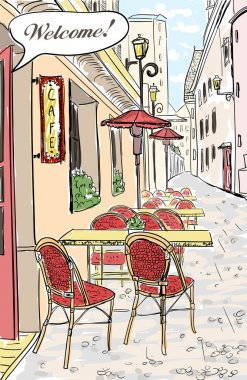 Street cafe sketch illustration.