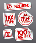 Tax free shopping stickers.