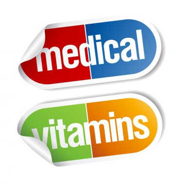 Vitamins, pills stickers.
