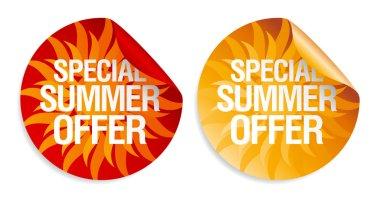 Summer offer stickers.