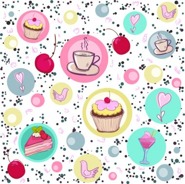 Seamless pattern with sweets and coffee.