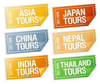 Travel stickers tickets.