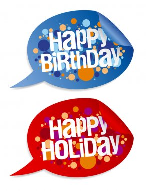 Happy birthday and holidays stickers.